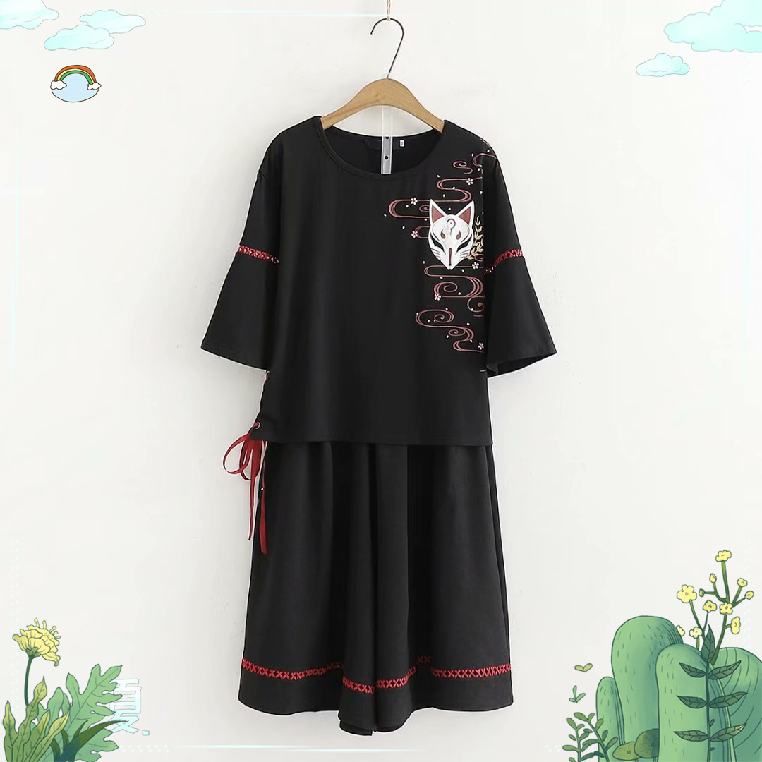 Japanese-style Mori Girl Line Versatile Hipster Literature And Art Fox Embroidered Hem Bandage Cloth Second Element T-shirt Trou
