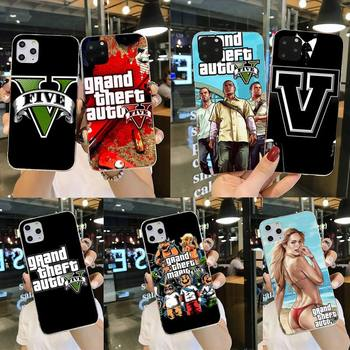 Grand Theft Auto GTA V Silicone Black Phone Case for iPhone 11 pro XS MAX 8 7 6 6S Plus X 5S SE 2020 XR cover image
