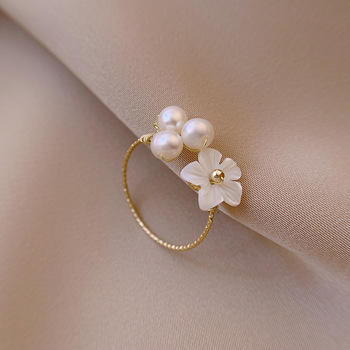 New Exquisite Pearl Shell Flower Ring Jewelry Pearl Jewelry