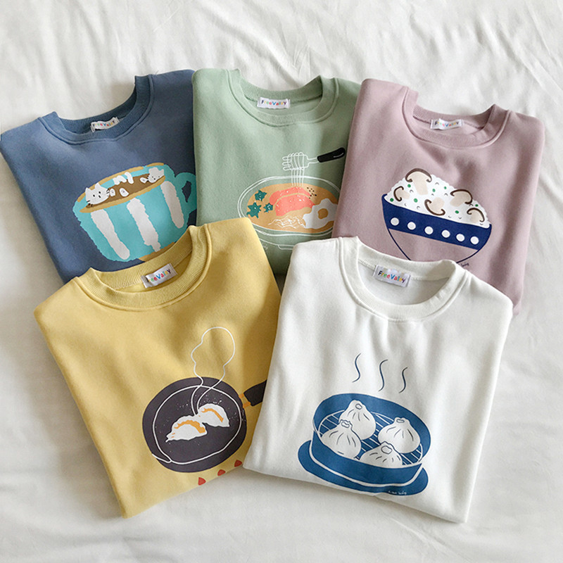5 Colors Autumn Winter 2019 Preppy Style Women Sweatshirts Long Sleeve Cartoon Print Thick Sweatshirt Womens Pullovers ( F3879)