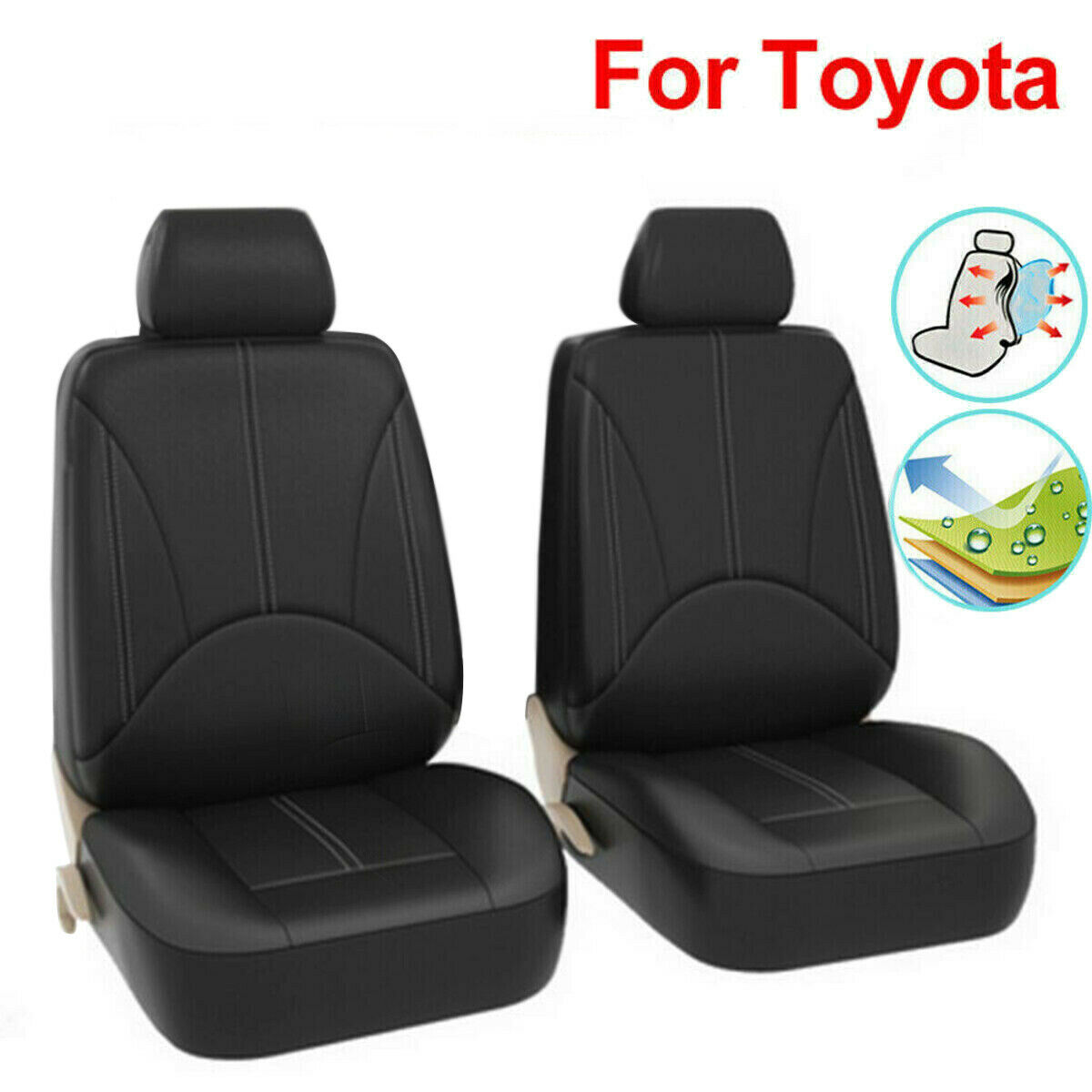 Auto Black Seat Cover Cushion Protector Set Accessories For Toyota RAV4 Corolla Headrest Front Seat Cover