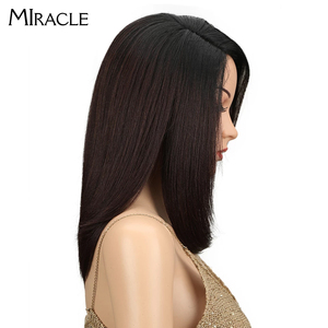 Image 2 - Synthetic Lace Front Wig Long Straight Bob wig 18Inch Right Part Ombre Bob Heat Resistant Synthetic Wigs For Women Miracle wig