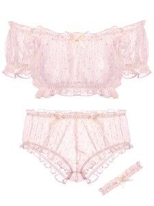 Image 4 - Conjunto de ropa interior con estampado de estrellas para mujer, top de gasa ultrafina con volantes y hombros descubiertos, pantalones cortos con aro para la pierna, pijama sexi tentación