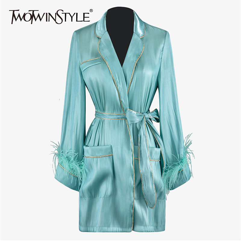 TWOTWINSTYLE Bowknot Patchwork Feather Coat Female Long Sleeve Lapel Collar Lace Up Elegant Womens Coats Fashion Autumn New 2020