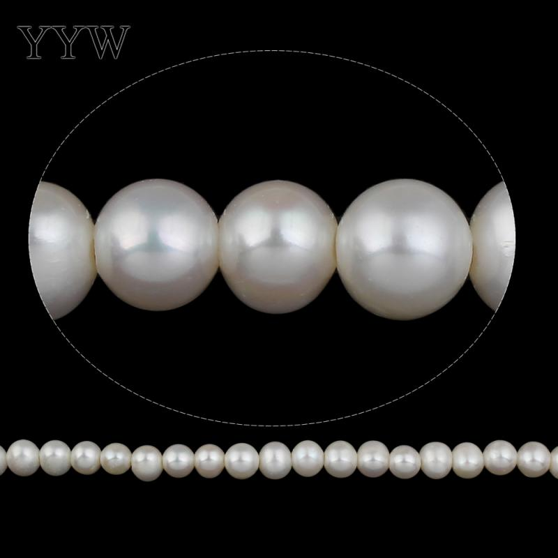 Perles de perles d'eau douce de pomme de terre de culture blanc naturel 11-12mm vendu par brin
