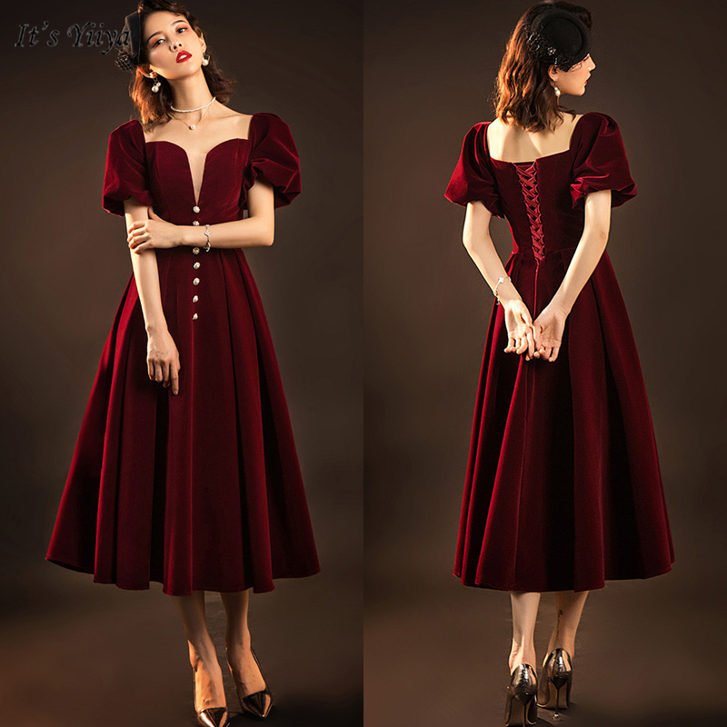 It's Yiiya Evening Dress 2019 Elegant Square Collar Short Sleeve Robe De Soiree A-Line Women Party Dresses V165