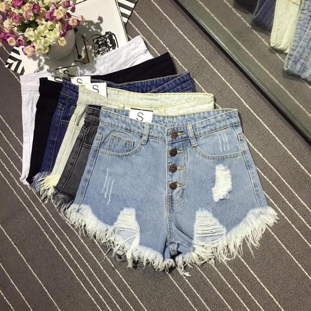 Korea Fashion Summer Women High Waist Button Sexy Hole Rippe Jean Shorts Cotton Demin Loose Shorts Plus Size Hot Shorts D212 4