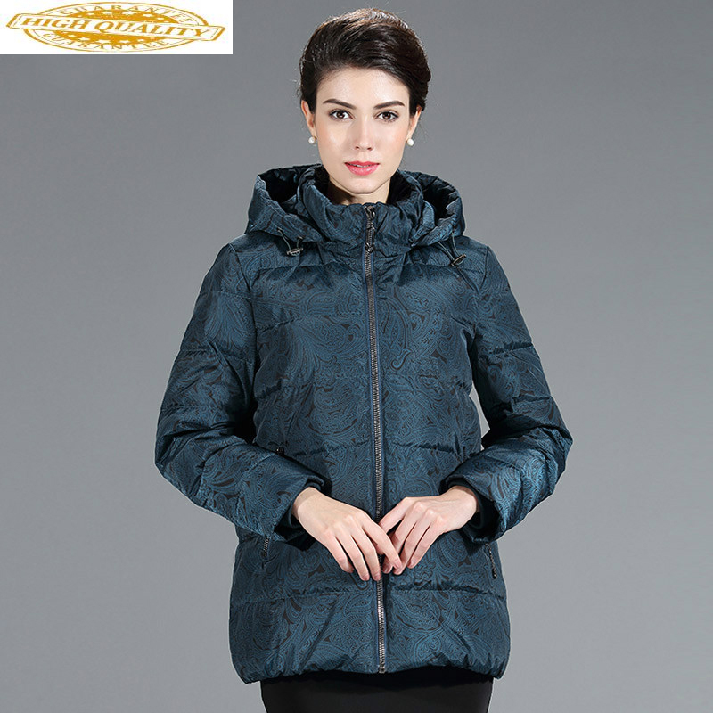 Women's Down Jacket Plus Size Short Winter Coat Women Middle Aged Ladies Detachable Hat Doudoune Femme Hiver KJ1055