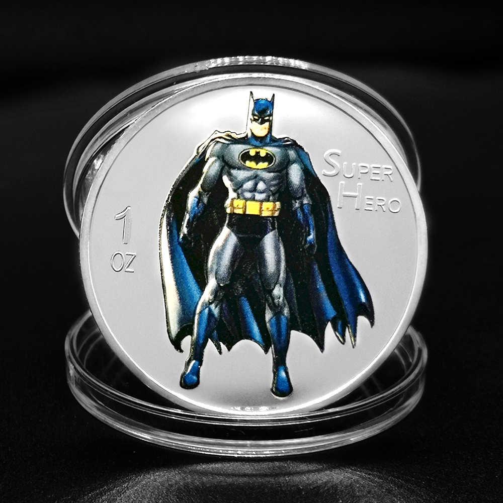 Pièces commémoratives Batman argent or 999 de 1 once | Pièces de film d'animation Super héros à collectionner, cadeaux de dessin animé pour anniversaire d'enfants
