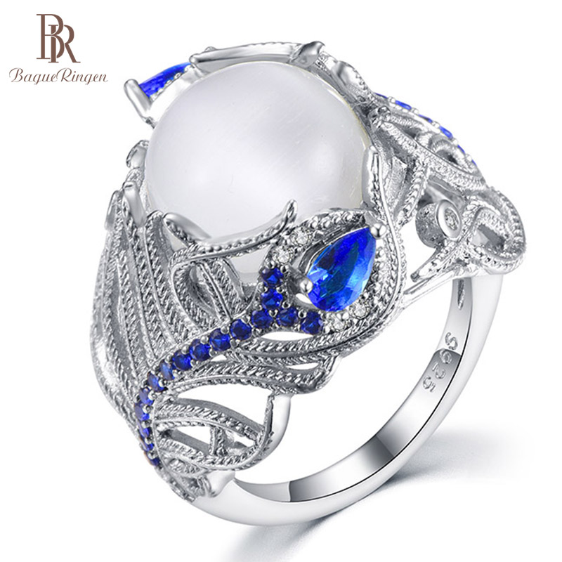 Bague Ringen New HOT Style 925 Sterling Silver Jewelry For Women Moonstone Sapphire Flower Ring Size6,7,8,9,10 Anniversary Gift