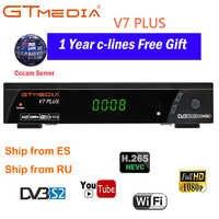 Gtmedia v7 plus combo dvb-t2 dvb-s2 receptor de satélite suport h.265 powervu biss chave ccam newam youtube usb wifi 1080 p hd completo