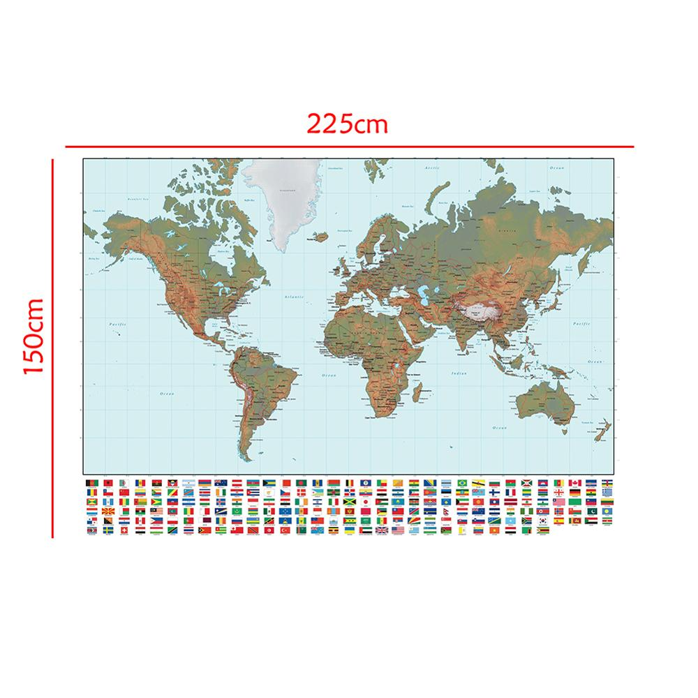 150x225cm The World Map Regular Simplified Non-woven Map With National Flag For Beginner