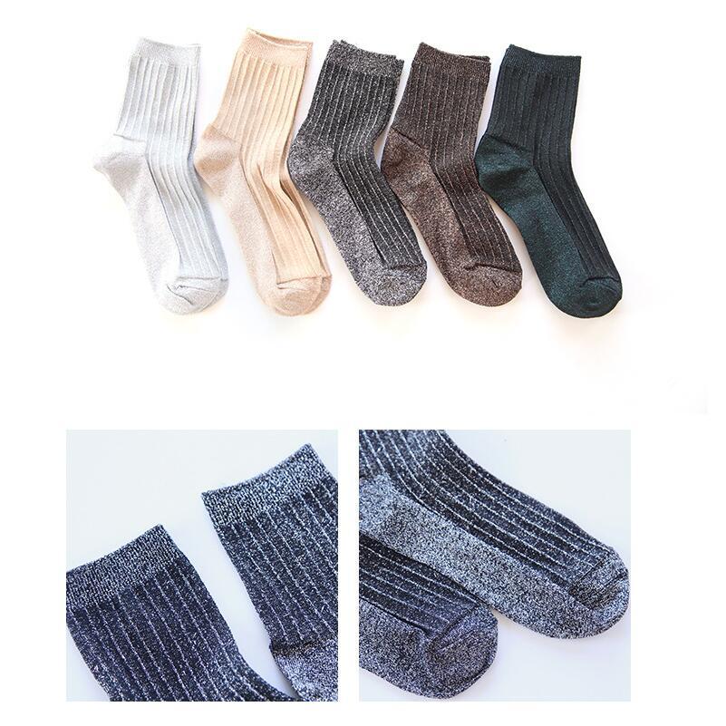 Women Solid Metallic Lurex Ankle Socks Girls Shinny Glitter Short Socks Female Spring Summer Winter Socks 5 Pairs/lot AL209SC