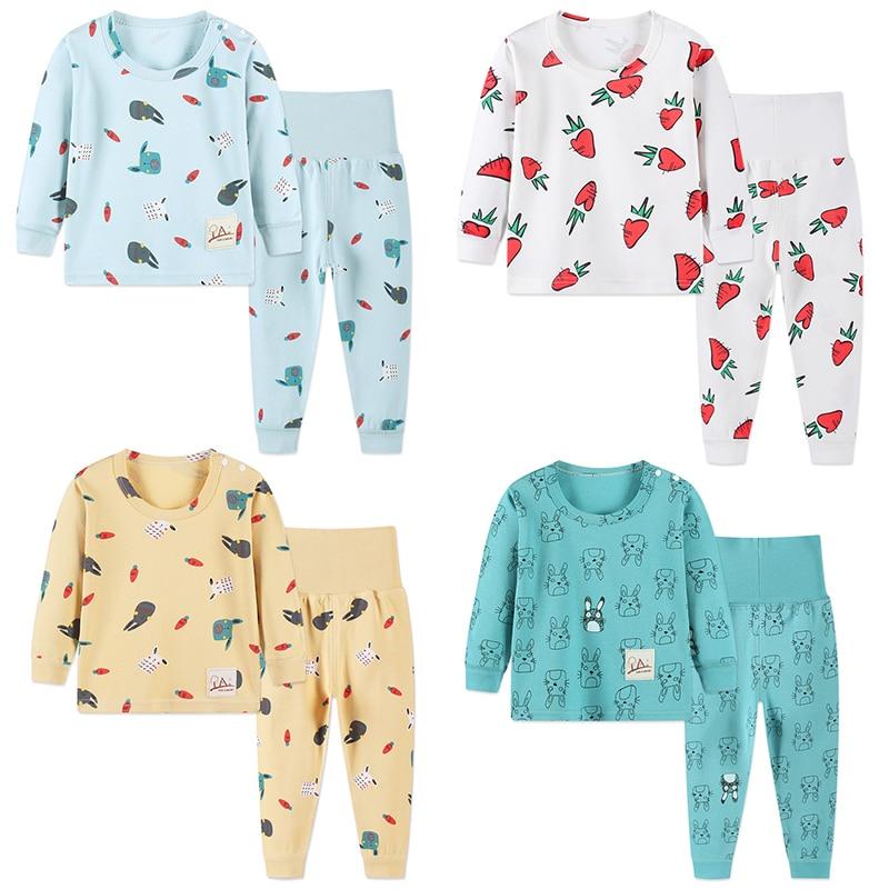 Children's Pajamas Sets Autumn Cotton Pijamas Inflant Long Sleeved Baby Girls Clothing Suit Cartoon Boys Sleepwear Pyjamas Kids 4