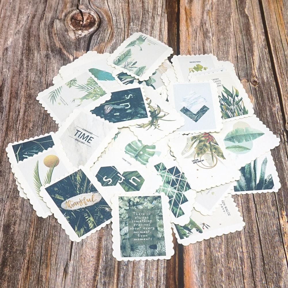 42PCS DIY Stickers Cute Plants Diary Paper Sealing Stickers Scrapbooking Diary Diy Album Stationery Stickers