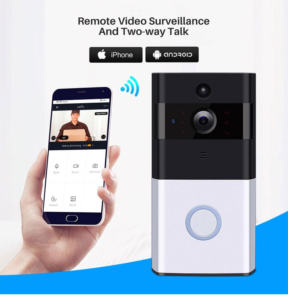 Dingdong WIFI-Sonnette Set avec cloche batterie HD Caméra de surveillance iOS Androi