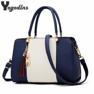 Image 1 - Trendy Patchwork Farbe Schulter Tasche für Frauen Mittleren Totes Geldbörse Büro Dame Umhängetaschen gabe quaste ornament Handtaschen