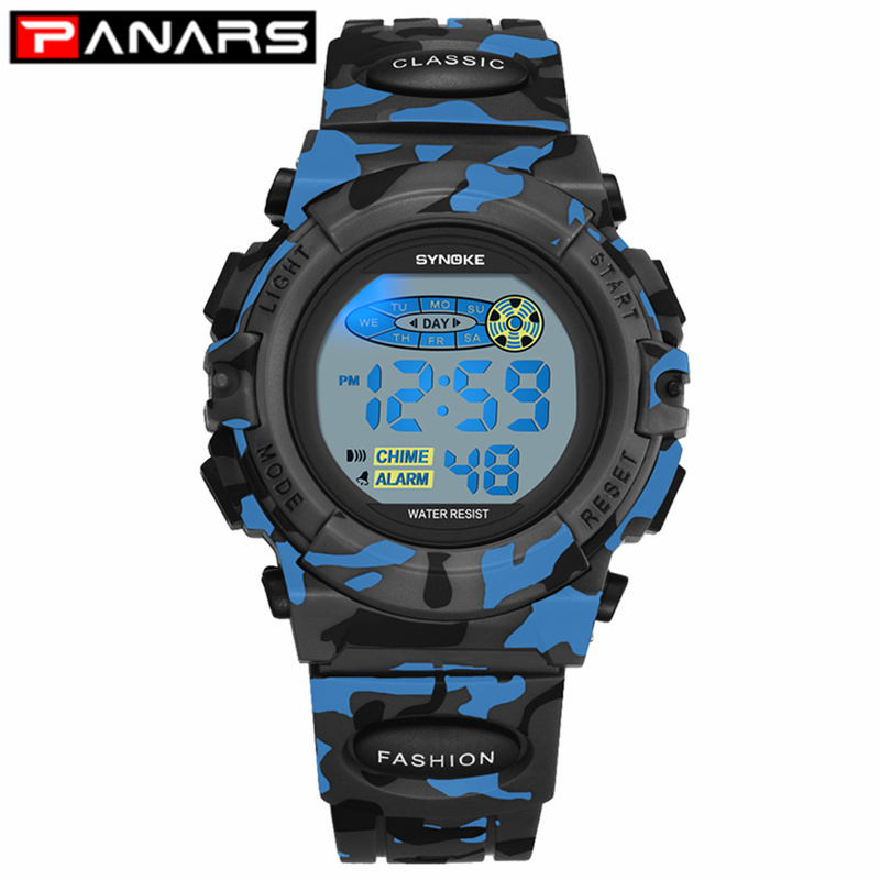 PANARS Fashion Kids Watches Sports Children's Watch LED Colorful Lights 12/24 Hour Camouflage Relogio Infantil Boy Student 2019