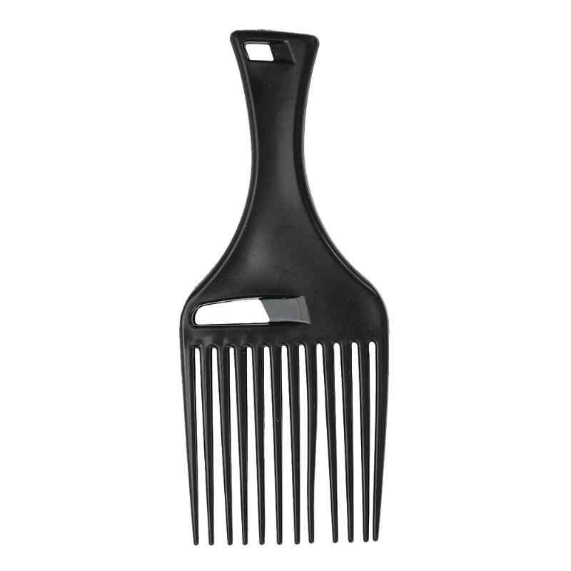 Afro Garpu Masukkan Rambut Keriting Sikat Sisir Sikat Rambut Styling Alat (Hitam)