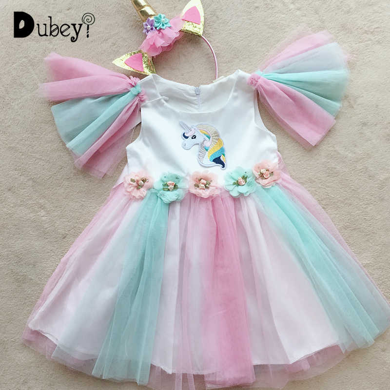 女の子ユニコーンドレス誕生日パーティー衣装美しい虹チュチュため