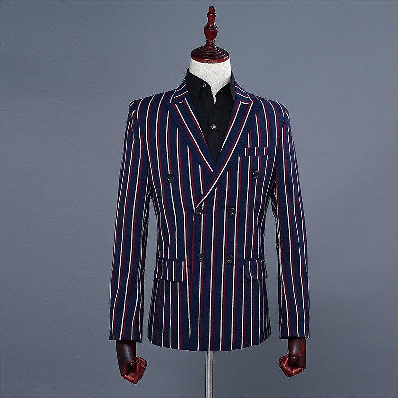 Fashion Mens Slim Fit Suit Blue Stripe Double Breasted Blazer Pants 2 Piece Set Wedding Party Suits Mens Business Casual Suits