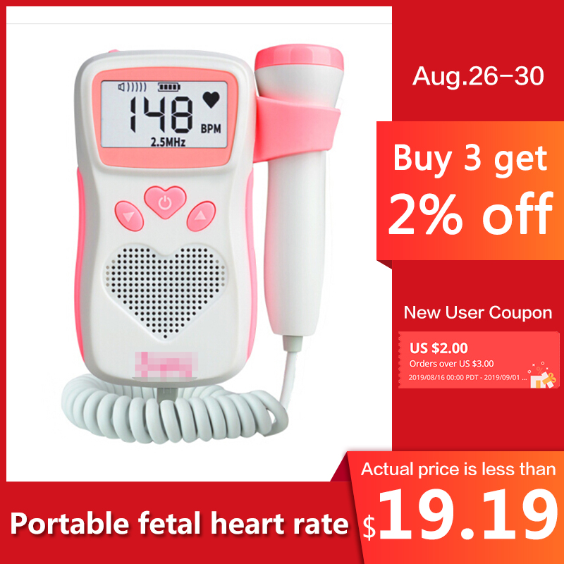 Fetal Dopler hand-hold portable fetal doppler sound Baby heart pregnancy Ultrasound fetus doppler Detector machine monitor(China)