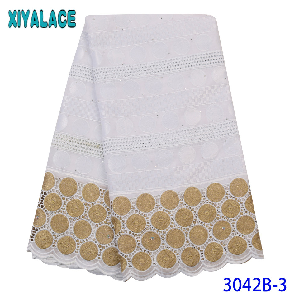 100% Cotton African Laces Fabrics 2019 High Quality Swiss Voile Embroidery French Lace Fabric For Women Dresses KS3042B