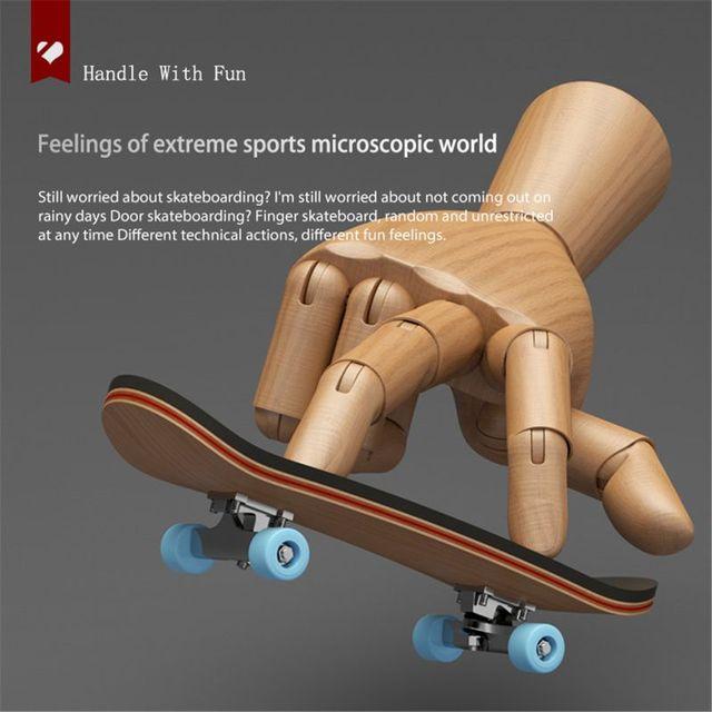 1Set Finger SkateBoard Wooden Fingerboard Toy Professional Stents Fingers Skate Set Novelty Children Christmas Gift 2