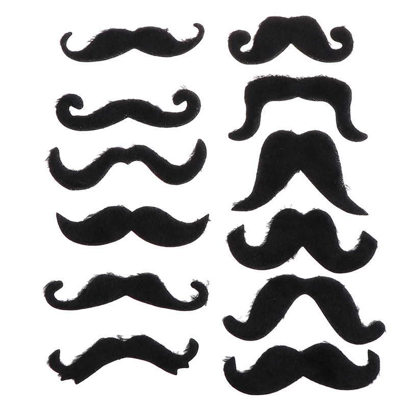 12pcs Funny Costume Mustache Pirate Party Halloween Cosplay Fake Mustach Beard Whisker Kid Adult Novelty Party Supplies(China)