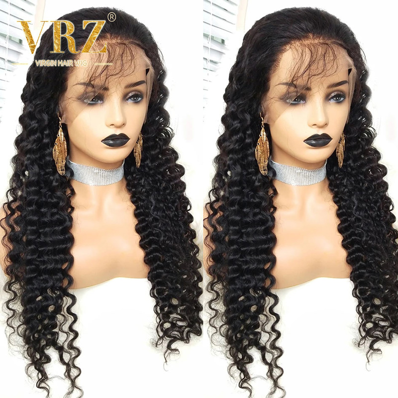 13x6 Human Hair Lace Front Wig Deep Wave Full Lace Brazilian Hair Curly 360 Lace Frontal Wigs For Black Women Pre Plucked  VRZ