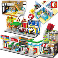 Sembo City Street View Architecture Building Blocks Friends House Shop Retail Store