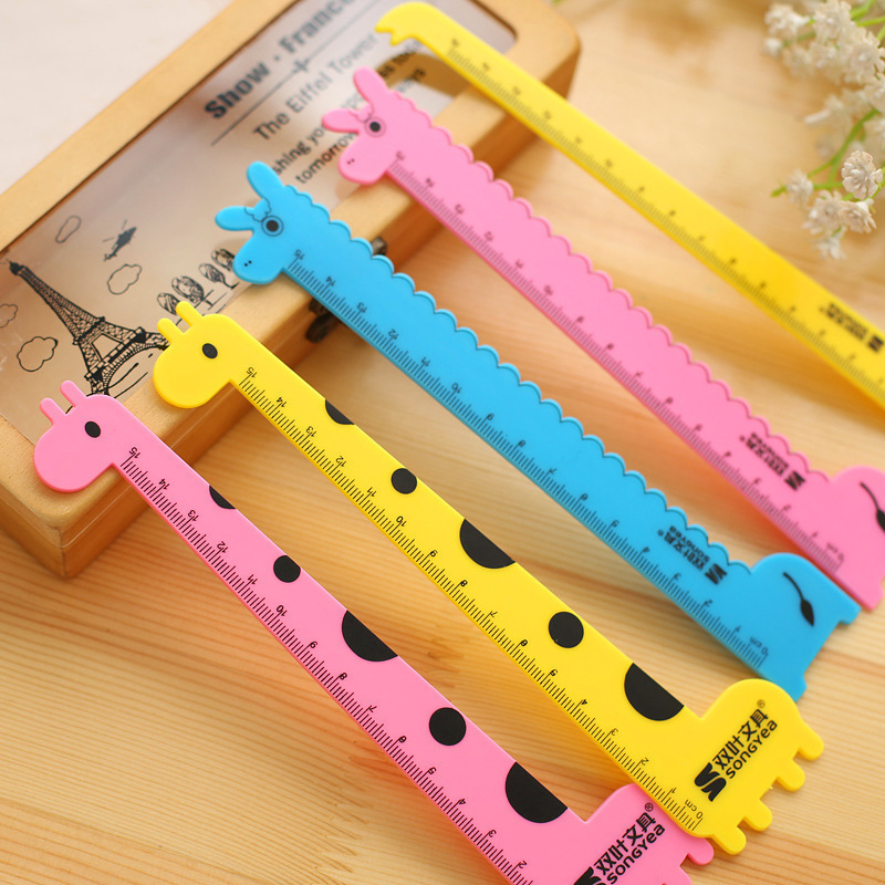 Cartoon Giraffe 15cm Ruler Students Learning Supplies South Korea Creative Stationery Children Plastic Ruler Wholesale