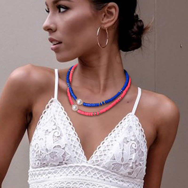 Fashion retro color soft pottery Necklace women Bohemia beach wind pearl necklace clavicle chain jewelry manufacturers wholesale
