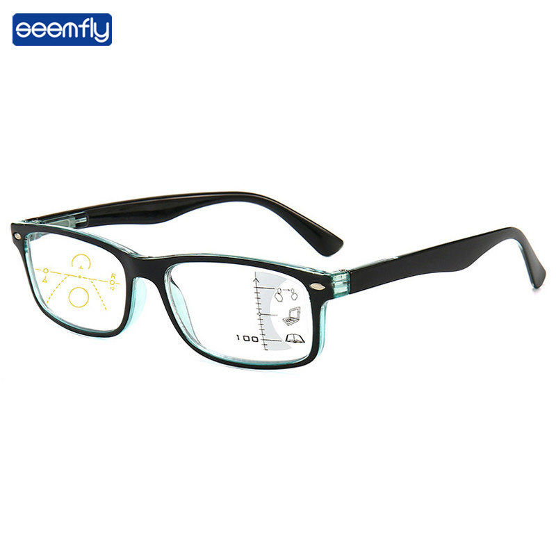 Seemfly Anti-blue Light Small Frame Patchwork Color Progressive Glasses Women&Men Intelligent Multifocal Reading Glasses