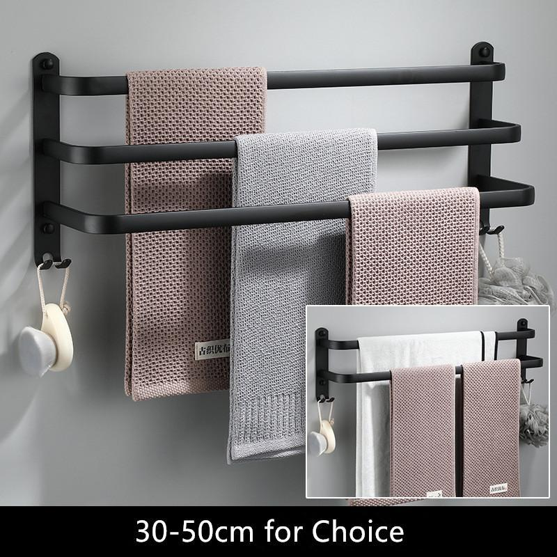 Towel Hanger Wall Mounted 30-50 CM Towel Rack Bathroom Aluminum Black Towel Bar Rail Matte Black Towel Holder Space aluminum