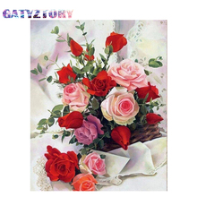 GATYZTORY 5D Diamond Painting  flower Full circular Diamond Embroidery Embroidery 5D Picture Of Rhinestone Home decoration крем 5d