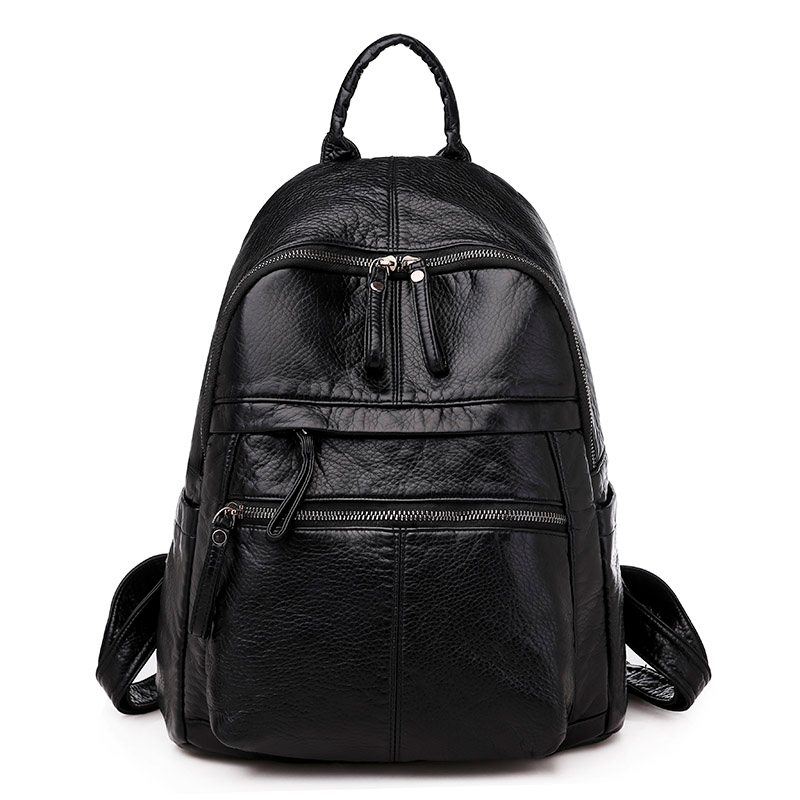2020 Women Leather Backpacks Mochila Feminina Rucksacks For Girls Vintage Bagpack Solid Ladies  High Quality  Rucksacks Female