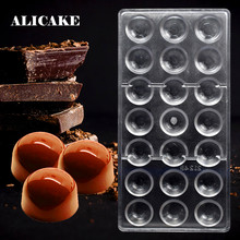 21 Hole Half-Ball Shape 3D Chocolate Mould Candy Polycarbonate Form Tray Plastic Pudding for Baking Pastry Making Tools Bakeware(China)