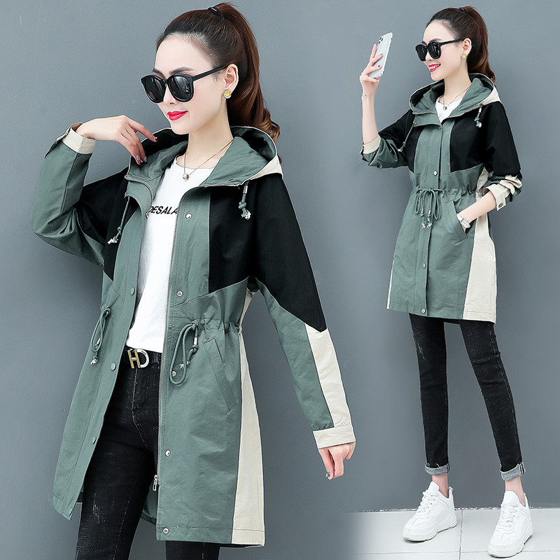 New Casual Hooded Windbreaker 2020 Spring Autumn Women's Fashion Trench Coat Girls Outerwear B106