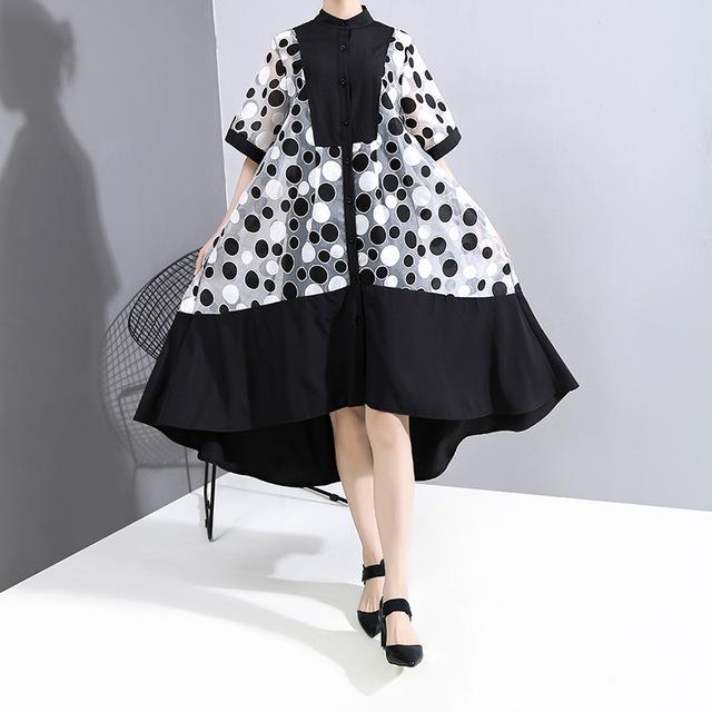 [EAM] Women Dot Printed Mesh Big Size Irregular Dress New Stand Collar Half Sleeve Loose Fit Fashion Spring Summer 2020 1T863