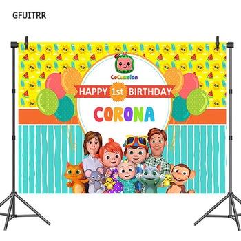 GFUITRR Cocomelon, Fondo de Fotografía niños 1er fondo con foto para cumpleaños, utilería de vinilo para fotos