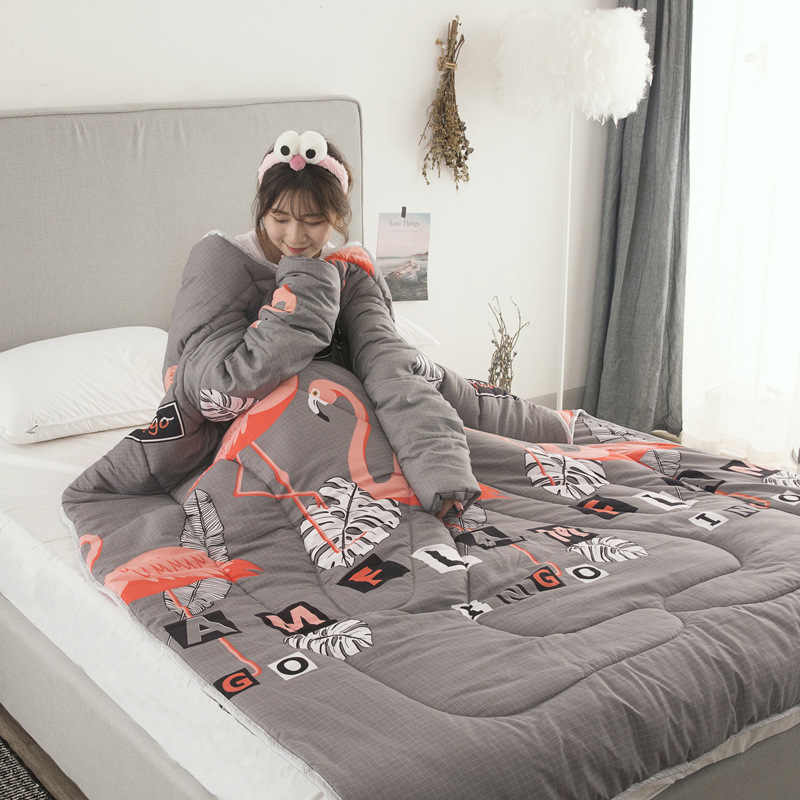 Winter Comforters Lazy Quilt with Sleeves Family Throw Blanket Hoodie Cape Cloak Nap Blanket Dormitory Mantle Covered Blanket