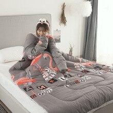 Edredões de inverno preguiçoso colcha com mangas família lance cobertor com capuz capa capa manto nap cobertor dormitório cobertor coberto