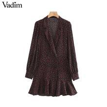 Vadim women floral print wrap dress V neck long sleeve A line pleated retro female stylish mini dresses vestidos QC952
