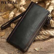 Men's Wallet Clutch-Bag Genuine-Leather Purse Card-Holder Money Casual WESTAL for Male