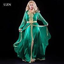 Uzn шифоновое зеленое облегающее платье марокканский кафтан