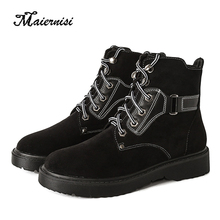 MAIERNISI High quality woman boots fashion motorcycle female Martin boot shoes ankle oversize 34-43 for ladies winter