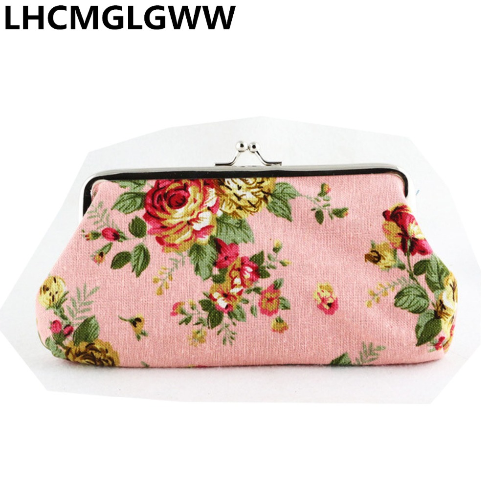 New Canvas Coin Purses Women Long Wallet Big Rose Printing Fabric Coin Purse Single Layer Hand Phone Bag image