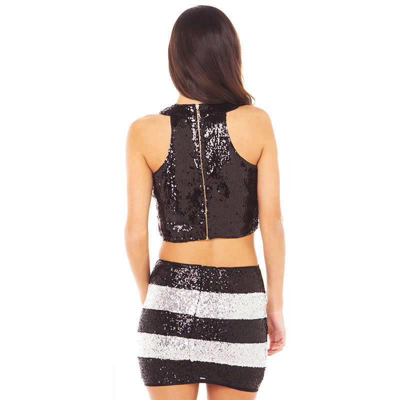 Novo estilo de venda quente sexy boate preto e branco bold listras contraste cor lantejoulas apertado-ajuste bainha saia curta