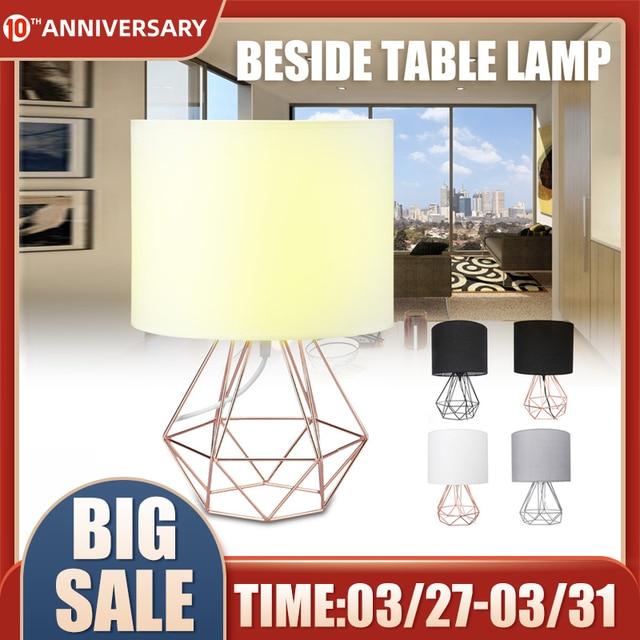 E27 Geometric Table Lamps Decorative Retro Drum Shade desk Light Bedside Home Lighting for Bedroom Living Room Office Lamp